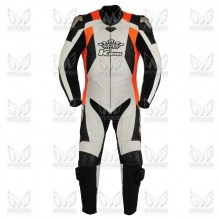 Mens King One Piece Leather Motorcycle Racing Suit ML 7077S - Orange/White/Black