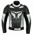 Mens Leather Motorbike Jackets ML 7079 - Silver/Black