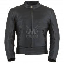 Mens Black Rock Leather Motorcycle Jacket ML 7213