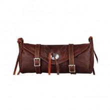 Premium Brown Leather Motorcycle Tool Bag with Metal Concho ML-7921