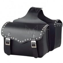 Waterproof Black Leather Medium Motorcycle Saddlebags ML-7881