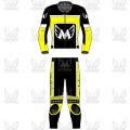Racers 2 Piece Leather Motorcycle Racing Suit ML 7804 - Yellow/Black/White