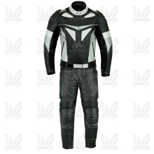Mens Two Piece Black and Silver Leather Motorcycle Suit ML 7079S