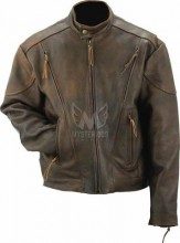 Mens Antique Leather Vented Scooter Jacket ML 7313