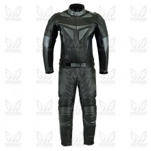 Mens Two Piece Black and Metal Leather Motorcycle Suit ML 7079S1