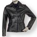 Women Stylish Short Length Black Soft Leather Jacket ML 7392