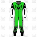 Speed 1 Piece Leather Motorcycle Racing Suit - Green/Black/White