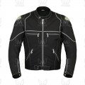 Mens Black Cordura Motorcycle Riding Jacket with Reflective Pipping ML 7567