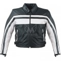 Mens Stripped Classic Leather Jacket ML 7315