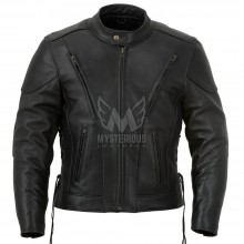Mens Vented Classic Leather Motorcycle Jacket ML 7218