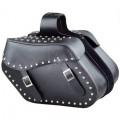 Waterproof Black Leather Large Motorcycle Saddle Bag with Metal Studs JEI-7902