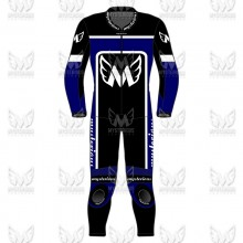 Racers 1 Piece Leather Motorcycle Racing Suit - Blue/Black/White